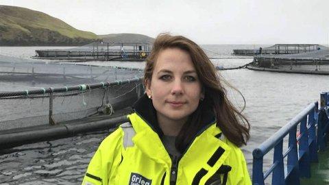 Kommunikasjonsjef Kristina Furnes i Grieg Seafood lovpriser arbeidsmoralen i hele verdikjeden.