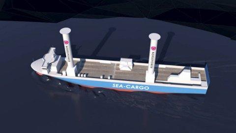 Med sine 35 meter høye rotorseil blir SC Connector Norges høyeste seilskip. (Ill.: Enova/Gyro)