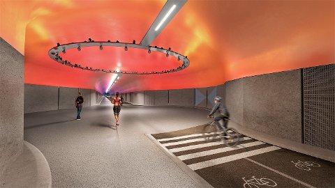 Den nye sykkeltunnelen mellom Fyllingsdalen og Kristianborg med en foreløpig prislapp på 500 millioner kroner vil se slik ut. Illustrasjon: Bybanen Utbygging
