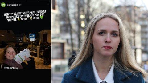 MDG-politikere i Bergen går dørbank mens alle blir anbefalt å begrense sosial kontakt. Venstre-politiker Ane Breivik (t.h.) reagerer kraftig.