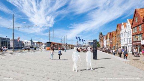 Illustrasjonsbildet viser Bybanen foran Bryggen.