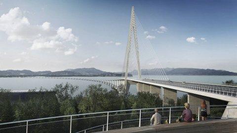 Illustrasjon av Hordfast, som regjeringen nå gir midler til i første periode av NTP.  Men denne broen ligger fremdeles langt fremme i tid - om den blir bygget.
