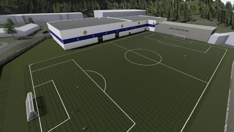 Den nye fotballhallen blir plassert over dagens syverbane på idrettsanlegget på Melkeplassen.