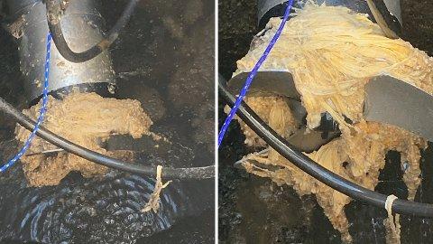 Slik ønsker man ikke at pumpesystemet i avløpet skal se ut. Dessverre er det et vanlig syn, og fører til at uhumskhetene renner urenset ut i sjøen.
