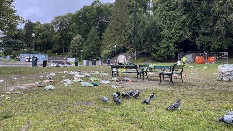 Da BA var i Nygårdsparken onsdag ved 0830-tiden, hadde det vært mange i sving med å rydde allerede i halvannen time.