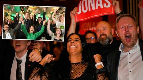 Sosialbyråd Lubna Jaffery slapp jubelen løs på Arbeiderpartiets valgvake. MDG-byrådene Thor Haakon Bakke og Katrine Nødtvedt jublet på sitt partis valgvake.