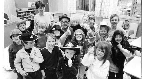 Krøderen skole, Norges dyreste klasserom 1984, historiebilde, Krødsherad