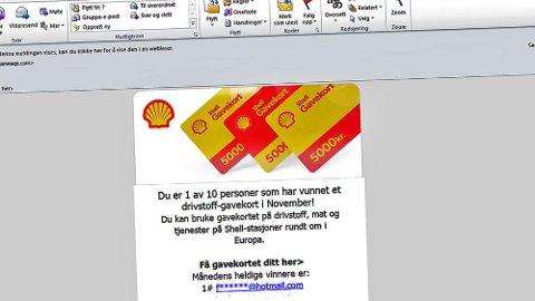Budskapet er av du har vunnet et gavekort på drivstoff i November (som naturligvis ikke skrives med stor -N). Men dette er ren svindel.