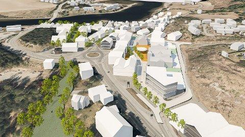 NORESUND SENTRUM: Slik ser DRMA-arkitektene for seg at Noresund sentrum kan bli seende ut i framtiden. Med nytt handletorg og fortettet lavhusbebyggelse med både boliger og næringslokaler.