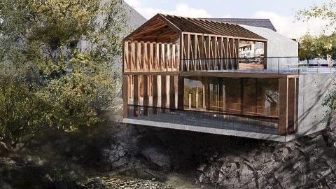 HOKKSUND PAVILLION: Slik ser man for seg at møteplassen ut mot elva, ved bruhjørnet kan bli seende ut.