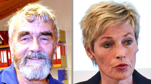 KREVER MØTE: Gustav Kalager og Tine Norman reagerer med vantro på at Brakar kutter ut bussrutene i Sigdal og Krødsherad i åtte uker i sommer. Når krever de et møte med Brakar.