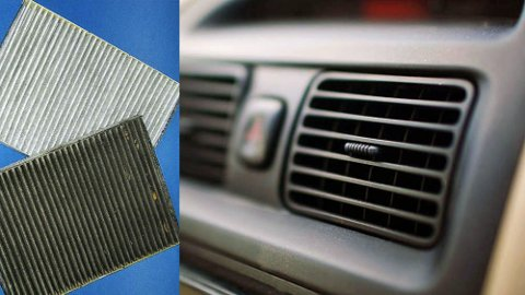 De to filtrene til venstre viser forskjellen på nytt og brukt. Det er viktig å skifte disse for et godt og sunt inneklima i bilen.