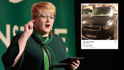 OPPMERkSOMHET: Elbilen til Sp-topp Geir Pollestad får oppmerksomhet under Venstres landsmøte.