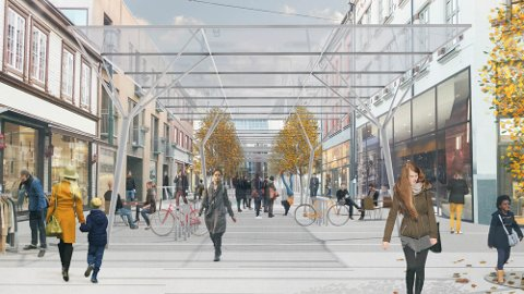 NESTEN SLIK: Dette er et forslag til hvordan det vil se ut med glasstak over en gågate i en annen by i Norge.