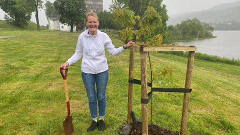 VERDENS MILJØDAG: Sunni G. Aamodt plantet rød eik utenfor Modum rådhus i regnværet fredag.