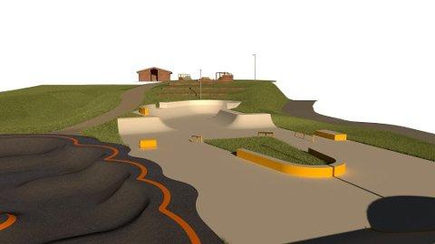 SLIK BLIR DET: Dette er skissen til den nye betongparken på Krøderen.