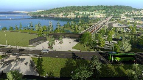 SUNDVOLLEN: Sundvollen sentrum med ny stasjon. Ny motorveibru til venstre i bildet. Nå legger et flertall på Stortinget opp til raskest mulig byggestart.