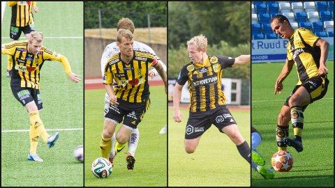 FERDIGE I EIK: 11 av årets spillere forsvinner ut av EIK-stallen. Blant disse er Sverre L. Larsen (f. v.), Kim Robert Nyborg, Mathias Perttamo og Henning Romslo.