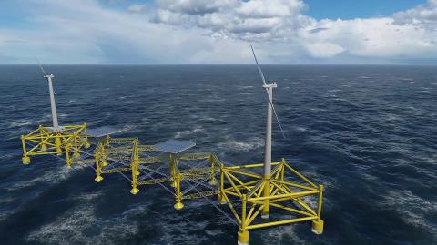 SLIK SER PILOTEN UT: Planen utenfor Eigerøy er en installasjon som er én fjerdedel så stor som et anlegg i full skala. Den installerte effekten er 13 megawatt. Totalvekten er 7.500 tonn, og prisen på Flexifloat-piloten er på mer enn 100 millioner kroner.