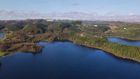 FORVANDLING: Konsulentfirmaet Vial AS har visualisert det planlagde industriområdet i Hetlandsskogen slik det kan bli sjåande ut i fugleperspektiv frå Eikesvatnet.