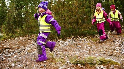 På skogtur: Femåringene er ivrige etter å utforske skogens hemmeligheter.