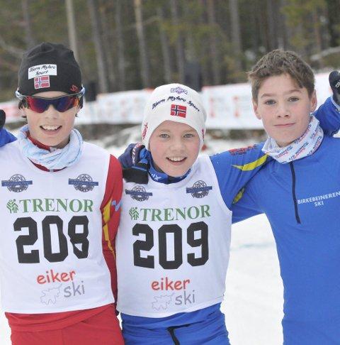 TETT DUELL: Anders Larsen Høiås (midten) fra IBK var ett sekund raskere enn klubbkamerat Torodd Klausen (t.h.), og tre sekunder foran Phillihp Granaas Lillebø. FOTO: LARS-PETTER Dæhlin ENGESMO