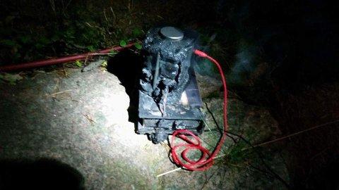 FARLIG: Denne radioen tok full fyr i et hus i Drammen onsdag kveld.