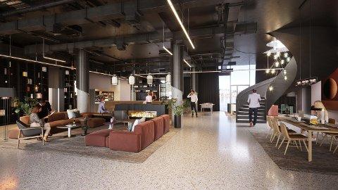 RESEPSJONEN: Slik blir folks første møte med Drammens nye hotell.