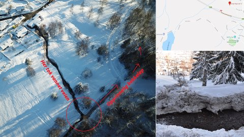 Vannet skulle gått i et rør, men da en ispropp stengte dette tok massene veien ned mot bebyggelsen på Austad i stedet. På bildene ser du hvor vannet skulle ha gått, og hvor det i stedet tok veien.
