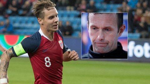BANENS BESTE: Stefan Johansen scoret to mål mot Kypros og slo tilbake mot tiltale. Nå får han støtte av Ronny Deila. Foto: Montasje (NTB scanpix)