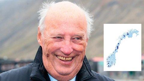 KANSKJE KOMMER KONGEN: Kong Harald samler på norske kommuner, og har som mål å besøke alle.