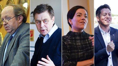 NABOENE REAGERER: Tirsdag sa Drammen Høyre nei til Buskerudbypakke 2 og bompenger. Det får ikke bare ringvirkninger for Drammen, men også for nabokommunene. F.v.:  Hans Kristian Sveaas (H), varaordfører i Øvre Eiker, Nedre Eiker-ordfører Bent Inge Bye (Ap), Lier-ordfører Gunn Cecilie Ringdal (H) og Svelvik-ordfører Bjørn Muri (H).
