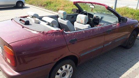 HJEMMESNEKRA CABRIOLET: Politiet sperret opp øynene da de møtte denne bilen i Aalborg forrige uke.