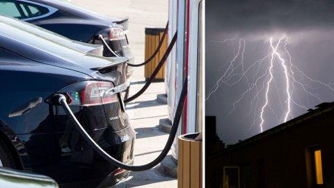 Direktoratet for Samfunnssikkerhet og beredskap fraråder å lade elbilen når det tordner. De melder også om flere tilfeller fra norske elbil-eiere, som har fått elbilen sin ødelagt. Foto: Scanpix