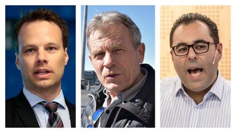STORTINGSPOLITIKERE FRA GAMLE BUSKERUD: John Helgheim (Frp), Arne Nævra (SV) og Masud Gharahkhani (Ap). Foto: NTB scanpix / Karl Martin Jakobsen