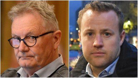 SVÆRT UENIGE OM MORIA-FLYKTNINGER: Rune Kjeldsen (SV) og Lavrans Kierulf (Frp) (t.h.).