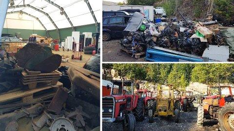 SKROT: Bilmotorer, gamle kjøleskap og traktorer var noe av det kommunen fant da de var på befaring i et steinbrudd mellom Pukerud og Mjøndalen i september.