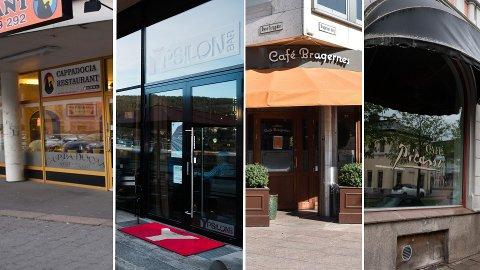 HAR ÅPENT: Restaurantbransjen har det tøft for tiden, men de fleste holder fortsatt åpent, deriblant disse: Cappadocia i Globusgården, Ypsilon, Cafe Bragernes og Cafe Picasso.