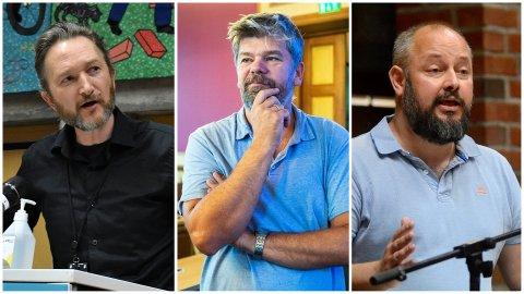 UENIGE: Der Rødt-politiker Jørgen Wilhelmsen (t.v.) og Nei til Bomrings Anders Lunde (t.h.) vil at kommunen ikke skal eie vindkraft på land, mente Ståle Sørensen i MDG at forslaget var lite fremtidsrettet.
