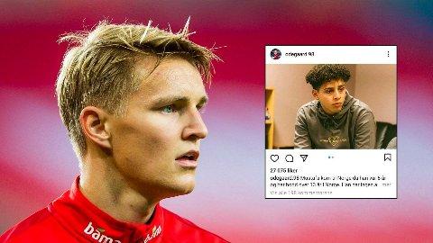 KOMMER MED STØTTE: Martin Ødegaard forsvarer Mustafa.