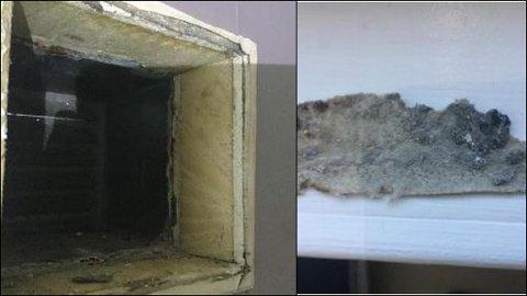 I huset ble det brukt multimur, en type mur som ble mye brukt på 80- og 90-tallet, men som nå regnes som dårlig fordi den gir stor risiko for fuktskader. Bildet til høyre viser mugg som ble funnet bak muren i kjelleren.