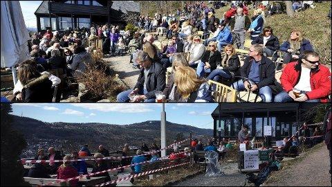 Bildet over viser hvordan det pleier være på Åspaviljongen i påsken – bildet under viser hvordan det er i år.