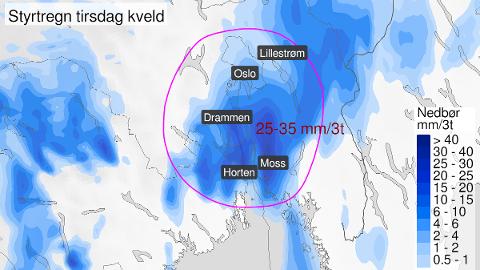 Slik ser varselet ut for deler av Østlandet tirsdag kveld.