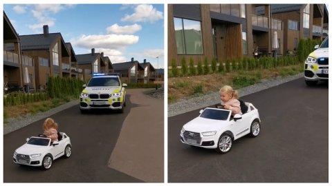 PÅ FLUKT I AUDI: Klar beskjed fra politiet hindret ikke Leonora (2) i å kjøre i vei i lekebilen sin.