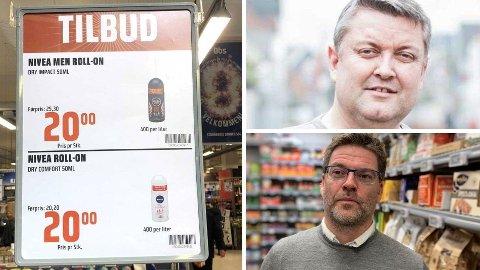 LIKSOMTILBUD: Kundene på Obs i Bergen lokkes med tilbud på deodorant. Herredeodoranten er nedsatt med 5,30 kroner, mens det kun er 20 øre å spare på deodoranten til dame.