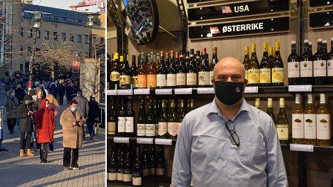 STENGTE POL I OSLO: Til venstre polkøen på Bekkestua i Bærum lørdag formiddag. Gjermund Mortensen, assisterende butikksjef på Vinmonopolet på Liertoppen forteller at også de har hatt besøk av en del folk fra Oslo i dag.