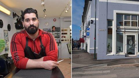 GIKK IKKE: Husham Ahmed måtte gi opp frisørsalongen sin i Drammen. Koronapandemien ga salongen nådestøtet. Første bilde er fra februar i fjor. Det til høyre, av den tomme salongen, er fra 12. februar.