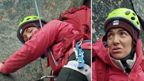 PANIKK: Iselin Guttormsen bryter sammen i fjellveggen i torsdagens episode av «71 grader nord – Norges tøffeste kjendis». Foto: Discovery