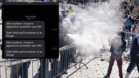"""Etter demonstrasjonen i Drammen sist helg, har det blitt sendt ut en rekke sms""""er som angivelig er fra Sian. Nå vil politiet etterforske, for å finne ut hvem som står bak kampanjen."""