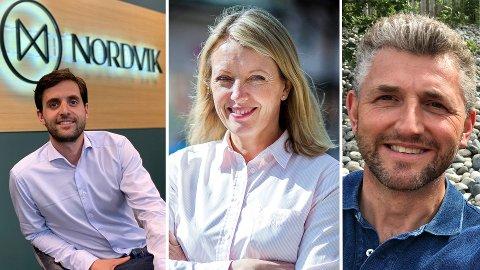 NY TENDENS: Meglere i Drammen melder at mange huseiere ikke lenger venter til pensjonsalder med å selge huset og få et enklere liv i leilighet - de gjør det allerede i 40- 50-års alderen. F.v. Christian Udgaard (Nordvik Eiendomsmegling), Nina Widerøe (Meglerhuset & Partners i Drammen) og Geir Gundersen (Dialog Eiendom).